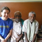 Hannah with two Sumanahalli patients (India)