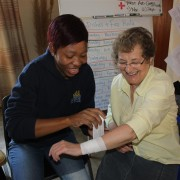Noreen Oliver and Petunia Magobe at this mornings First Aid training (South Africa)
